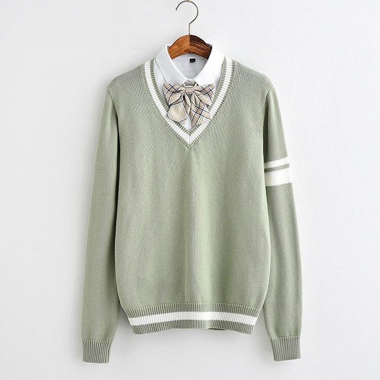 JK Lâche taille chandail Mignon doux doux Herbe vert couleur Unique manches deux barres vert clair Doux Meng bande chandail