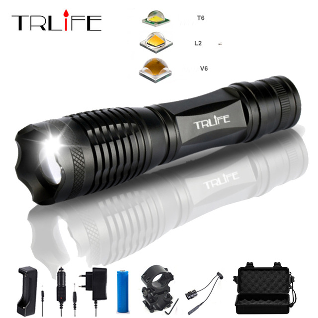 10000 Lumens Updated V6 L2 T6 Flashlight LED Tactical Aluminum Hunting Flash Light Torch Lamp Lanternas 5 Modes+18650+Gun Mount 8000lumen l l2 led flashlight tactical flashlight torch lanterna aluminum hunting light torch lamp 18650 charger gun mount