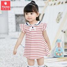 Tinsino Baby Girls Cute Sailor Collar Striped Mini Dress Infant Summer Dresses Children Girl Fashion Clothes Kids Clothing