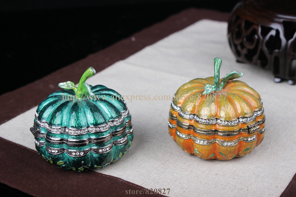 Pumpkin Handmade Jeweled Metal Trinket Box Pumpkin Figurine Box