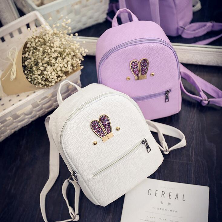 Fashion New backpack High quality PU leather Women bag Sweet girl mini shoulder bag Cute rabbit ear Sequins rivet small backpack  2016 high quality fashion new women backpack pu leather ladies shoulder bag college frosted backpack wild simple mini school bag