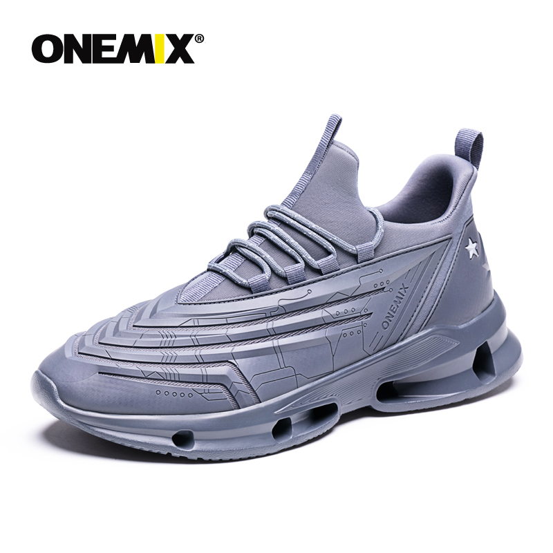 ONEMIX Sport Shoes Men Trail Running Shoe Breathable Zapatillas Hombre Deportiva Gray Outdoor Walking Sneaker Black