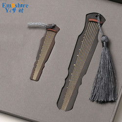 New Arrival Creative Redwood Bookmark Set Solid Wood Tassel Classical Chinese Gift Customized Bookmark Lettering M072