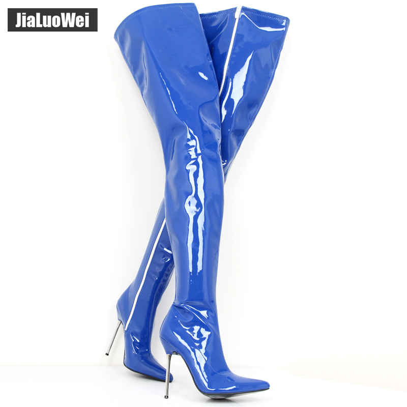 jialuowei Extreme High Heel appr.12CM Heel Pointed Toe Sexy Patent Leather Stiletto Metal Heel Sexy Fetish Zip Crotch Long Boots jialuowei brand new high heel 7 18cm wedges heel ballet boots sexy fetish lace up patent leather knee high long boots plus size