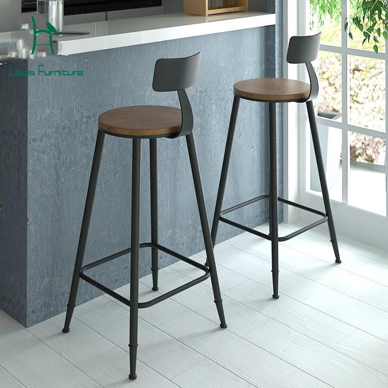 Louis Fashion Bar Chair Retro Modern Simple European Style