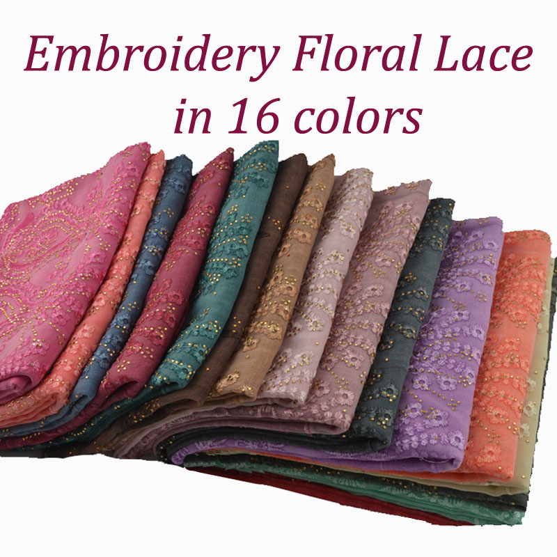 2019 Cotton lace scarf with studs lace hijab with rhinestone Wedding Party Muslim hijab Embroidery Floral