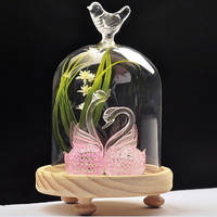 2pcs Pack BT060401 Beautiful Glass Dome Home Decorative Vase Creative Wedding Favor Gift Creative Bird Glass