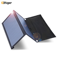 GBtiger 14W Dual USB Portable Sunpower Solar Charger Panel Power Emergency Water Resistant Folding Bag 5V