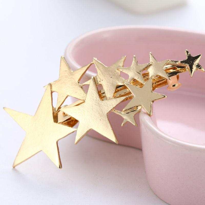 New Silver//Gold Plated Jewelry Women Star Hair Clip Bobby Pin Barrette Hairpin
