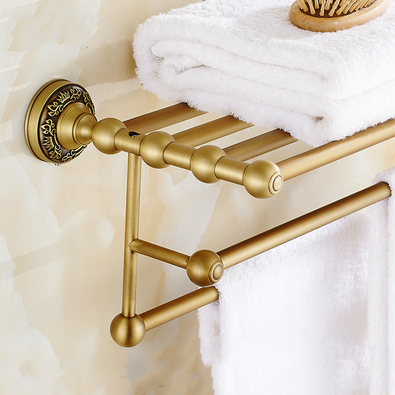 European Bronze Carved Towel Bar Towel Holder Antique Brushed Copper Towel Shelf Towel Rack 2