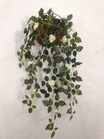 משלוח חינם, 1pc. קיר קישוט ירוק גפן פרח עלים מלאכותיים פרח סימולציה פלסטיק קיין עלה עכביש קיר גדול