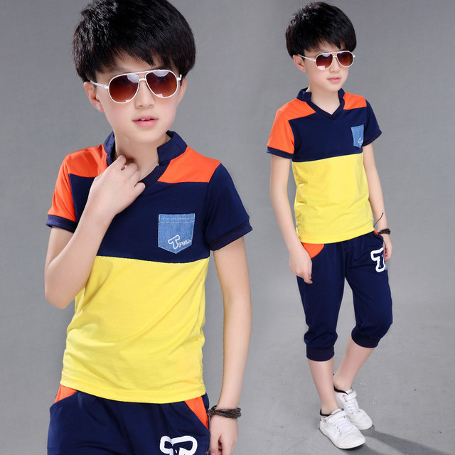 Big Boy Short Sleeve T Shirt+short Pant 2pc Sport Sets Summer Children's Clothing  Kids New Summer Boys Clothes Suits 4-14 Ages