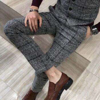 Thick Suit Pants Men Slim Fit Fashion Plaid Dress Pants