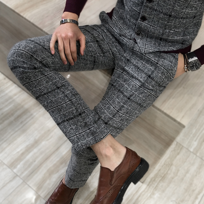 Winter Thick Suit Pants Men Slim Fit Fashion Plaid Dress Pants Plus Size Business Formal Wear Mens Trousers Party Pant 5XL-M Hot ...