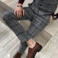 Winter Thick Suit Pants Men Slim Fit Fashion Plaid Dress Pants Plus Size Business Formal Wear Mens Trousers Party Pant 5XL M Hot
