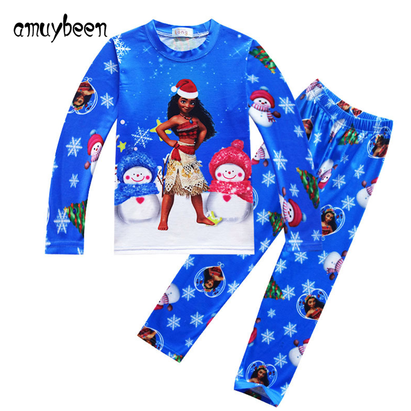 Amuybeen Girls Clothing Sets Moana Costum Kids Christmas Pajamas Set Long Sleeve Cute Suit New Year Girl Clothes Leisure Wear 3Y