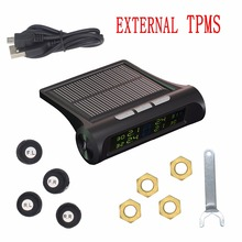 Car solar TPMS tire pressure monitor  Wireless Tire Pressure Monitoring  alarm System With LCD color display Built-in sensor tpms tire pressure monitor system car alarm system diagnostic tool wireless solar powered color lcd display