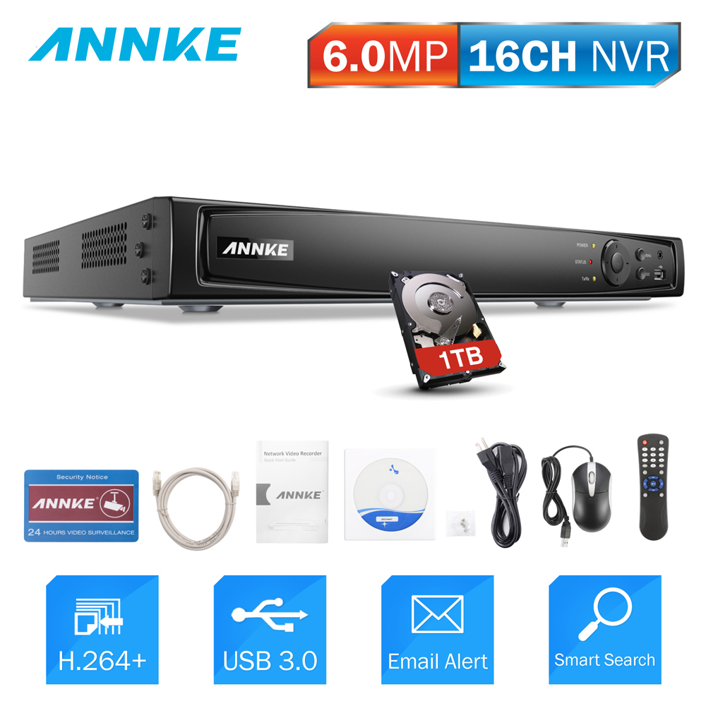 ANNKE 16CH NVR 6.0MP POE Video Recorder DVR For POE IP Camera P2P Cloud Network Video Surveillance Security System Onvif CCTV