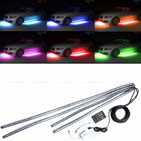 1 Set 4pcs Car RGB LED Strip Light Under Car Tube Underglow Underbody Neon Light System