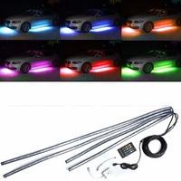 1 Set 4pcs Car RGB LED Strip Light Under Car Tube Underglow Underbody Neon Light System