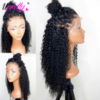 Kinky Curly Human Hair Wig Glueless Lace Front Human Hair Wigs Pre Plucked Brazilian Front Lace Wigs 150 180 250 Density Upretty
