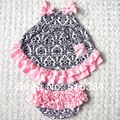 wholesale baby boutique clothing set small damask pink with matched bloomer one headbands  3sets/lot free shipping