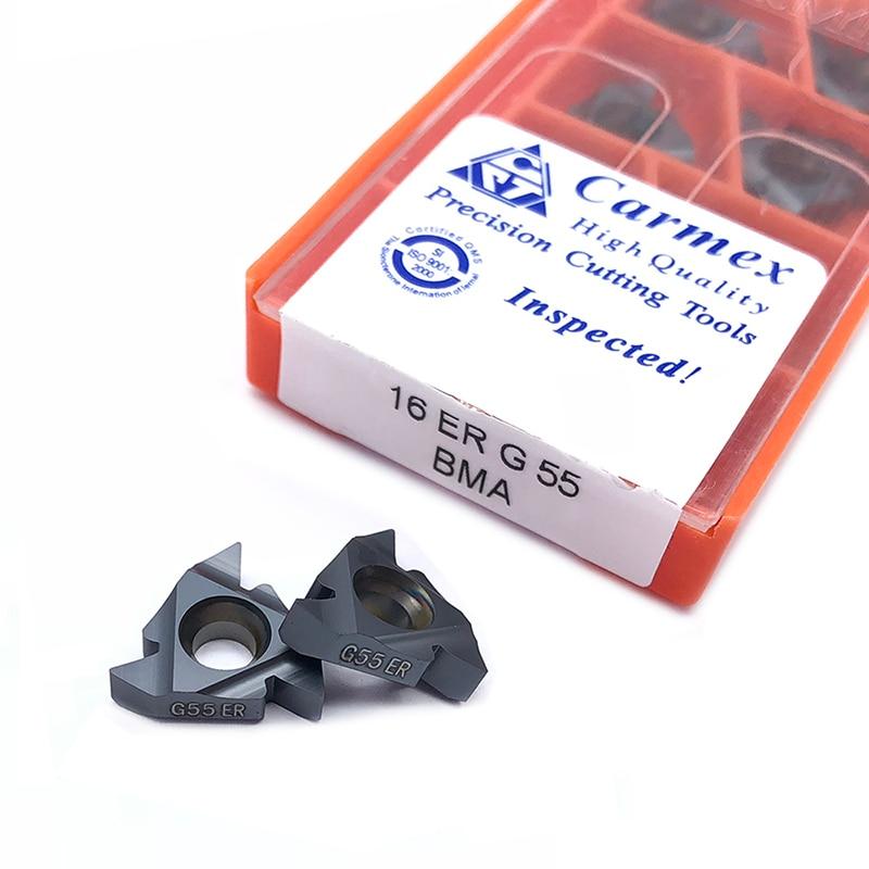 10 pezzi 16ER 16IR AG55 AG60 A55 G55 60 BMA Carmex filettatura CNC CNC inserto in metallo duro tornio tornitura lama di lavorazione in acciaio inox10 pezzi 16ER 16IR AG55 AG60 A55 G55 60 BMA Carmex filettatura CNC CNC inserto in metallo duro tornio tornitura lama di lavorazione in acciaio inox