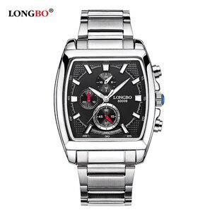 Image 5 - LONGBO mode hommes montre haut marque de luxe cadran carré mâle montre de sport hommes en acier inoxydable montre Relogio Masculino reloj hombre