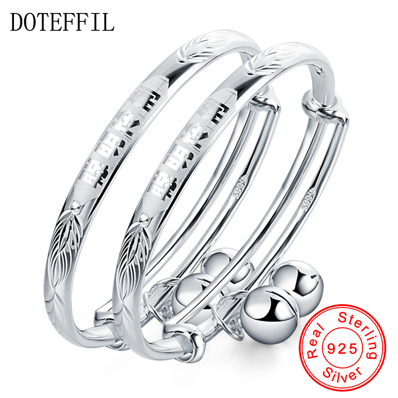 2Pcs Solid 925 Sterling Silver Bangles Bracelet Chinese Translated As Smart Lively Boys Girls Baby Bracelet Bangles Jewelry