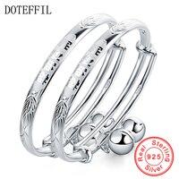 2Pcs Solid 925 Sterling Silver Bangles Bracelet Chinese Translated As Smart Lively Boys Girls Baby Bracelet Bangles Jewelry