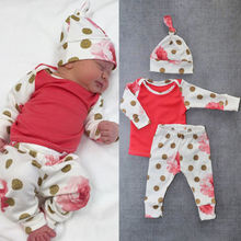 Newborn Baby Girl Boy Outfits Clothes Long Sleeve Floral Tops+Pants Hat 3pc Set