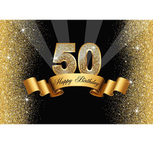 Art fabric photography backdrops custom gold Silk ribbon 50 birthday Gold Glitter Light black backgrounds party photo