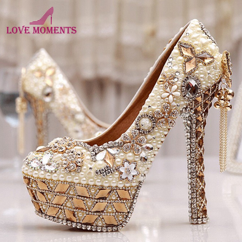 Size 34-43 Plus Size Gorgeous High Heel Crystal Wedding Shoes Cinderella Crystal Shoes Pearl Gem Ivory White Prom Bridal Pumps cinderella high heels crystal wedding shoes 14cm thin heel rhinestone bridal shoes round toe formal occasion prom shoes
