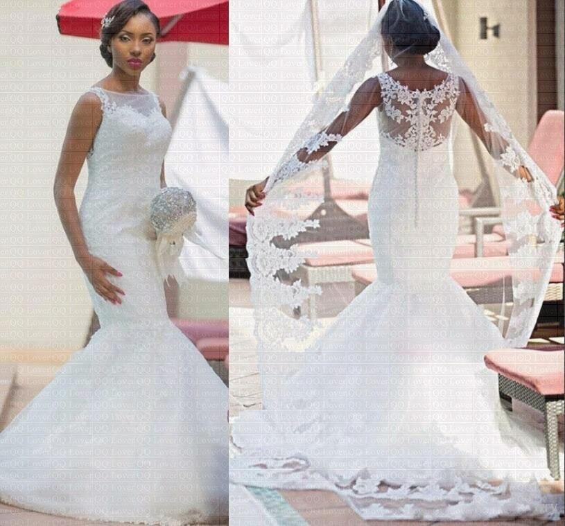 QQ Lover 2019 Boat Neck Tank Button Lace Mermaid Wedding Dress Vestido De Noiva Robe De Mariee