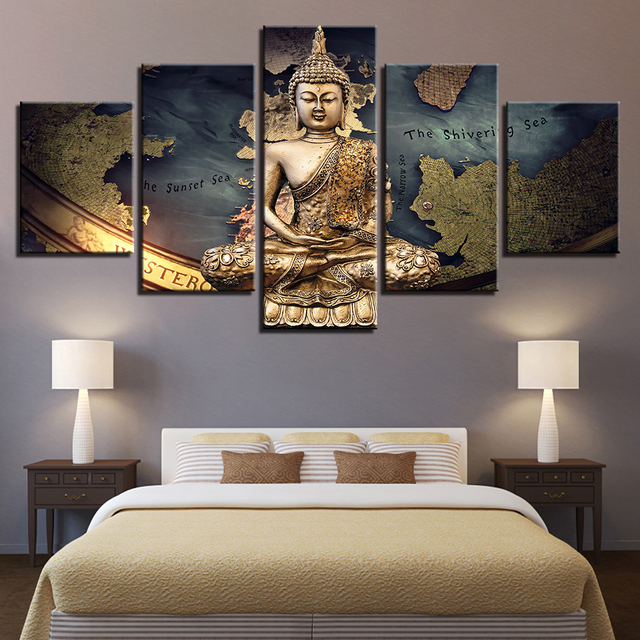 5 Pieces HD Print Modular Canvas Home Decor Golden Buddha Painting Game Map Creative Poster Wall Art Framework Bedroom Frame TYG
