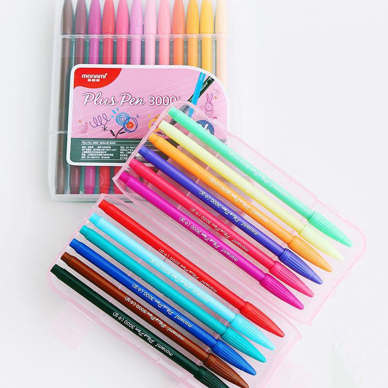 Monami Plus Pen 3000 Watercolor Pen Set Water Based Fiber Nib Gel Pen 12/24/36 Colors Set