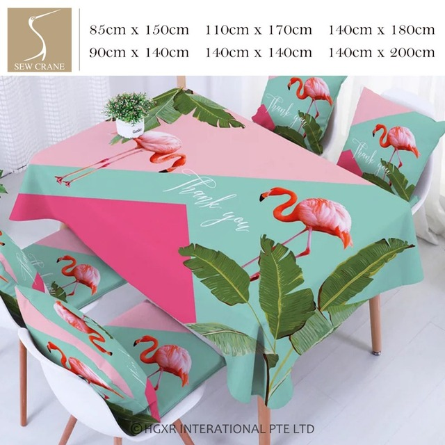 SewCrane Tropical Green Leaves Pink Flamingo Table Cloth Home Living Cotton  Linen Tablecloth