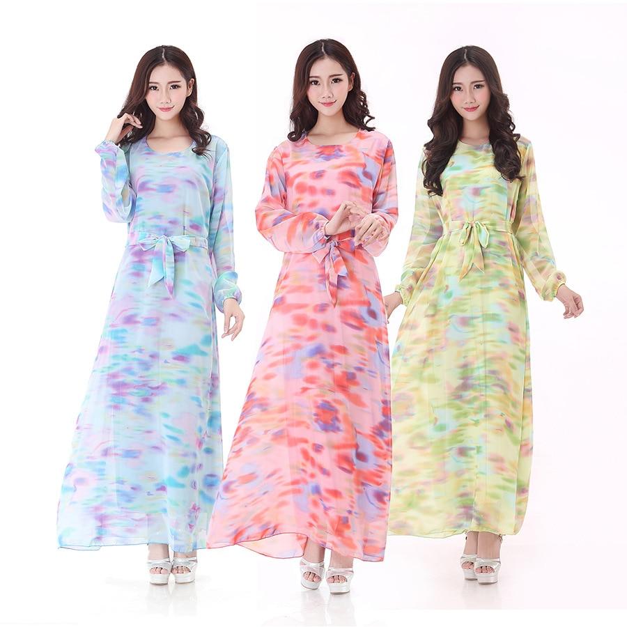 New arrival Print Chiffon long dress muslim abaya jilbab clothing ... aba8d06bc428