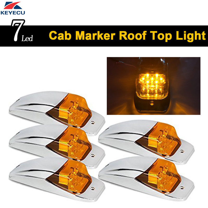 все цены на KEYECU 5x 7Led Amber Lens Amber LED Roof Top Cab Marker Light Chrome Light for Kenworth Peterbilt Freightliner Mack