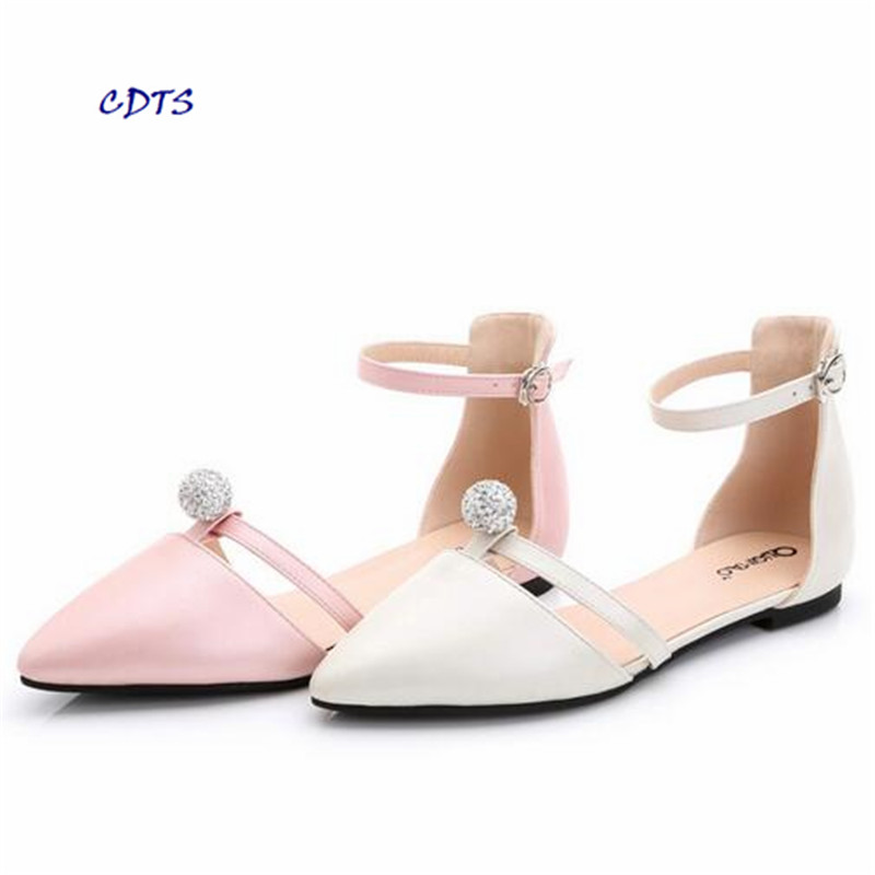 zapatos mujer Fashion pointed toe female sandals diamond ball 31 32 33 small yards shoes woman 41 - 43 plus size Ladies Flats flock women flats 2017 pointed toe ladies single shoes fashion shallow casual shoes plus size 40 43 small yards 33 sapatos