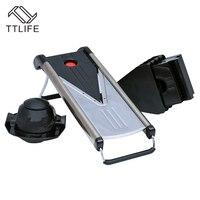 TTLIFE Manual Mandoline Slicer Multi Function Vegetable Cutter Set With 5 Blade Potato Carrot Cutter Peeler