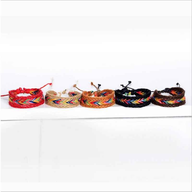 Новое красочное плетение из веревки из конопли нитка бусины для изготовления браслетов натуральная нация ветер руки внешней торговли Горячая продажа аксессуаров