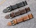 Feitas à mão Pulseira de Couro dos homens Para Brei, 18mm/19mm/20mm/21mm/22mm Preto Pulseira, Acessórios do Relógio