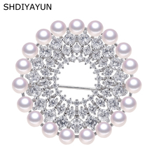 SHDIYAYUN New Big Sale Pearl Brooch For Women Many Pearls Round Brooches Pins Natural Freshwater Fine Jewelry High Quality