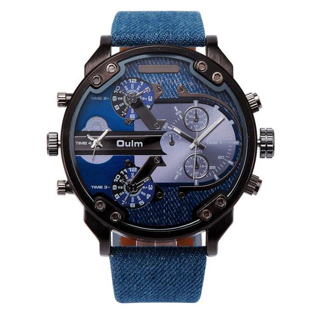 2016 Moda Nuevo Ejército Militar Tag deporte Oulm Double Time mostrar Reloj Hombre Reloj de Pulsera de Cuarzo Reloj de la Marca de Regalo Relogio Masculino