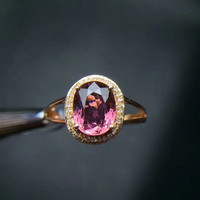 18k gold tourmaline ring classic fine jewelry hot sale MEDBOO brand 2018new pink color natural gemstone wedding engagement ring