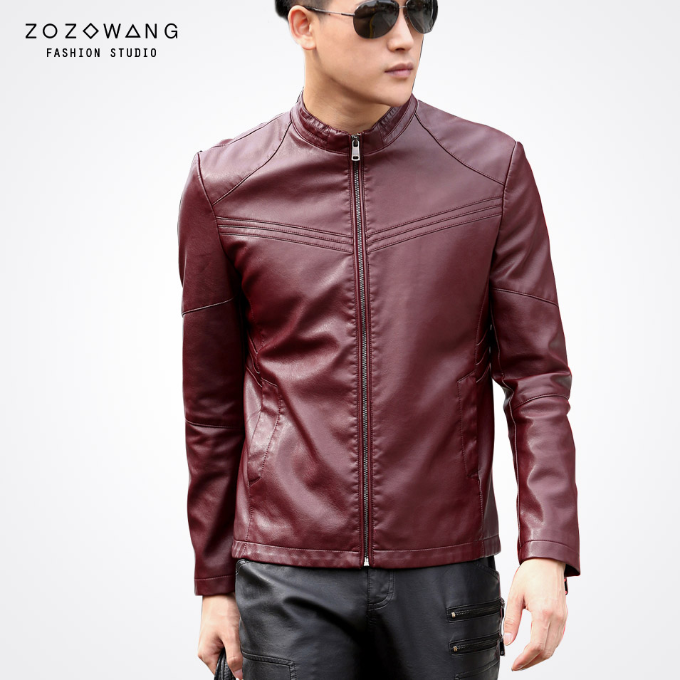 Zozowang new spring autumn new short stand collar casual leather jacket men solid fashion Motorcycle faux leather jacket men m 3xl hot 2018 spring men s new fashion conventional models slim collar pu leather jacket