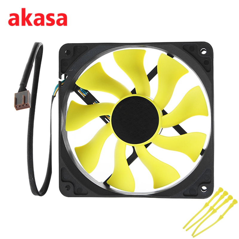 Akasa 12cm CPU Cooling Fan S-FLOW Cooler Fan Blade Design High Performance 4Pin PWM Auto Speed Control Silent lacywear s 35 fan
