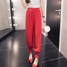 XXL Women Red  Harem Leg Chiffon Pants High Waist Drawstring Front Trousers Palazzo OL Elegant Long Holiday Ruffles