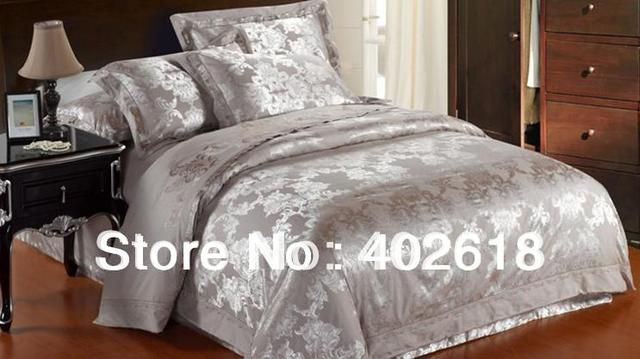 Free shipping--Bed sheet, 4PCS Bedding set, Jacquard weave, Satin drill, Queen & King size, For 1.8-2.0M bed